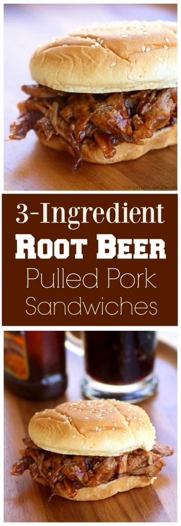 3-Ingredient Root Beer Pulled Pork - great for feeding a crowd. #root #beer #pulled #pork #sandwiches