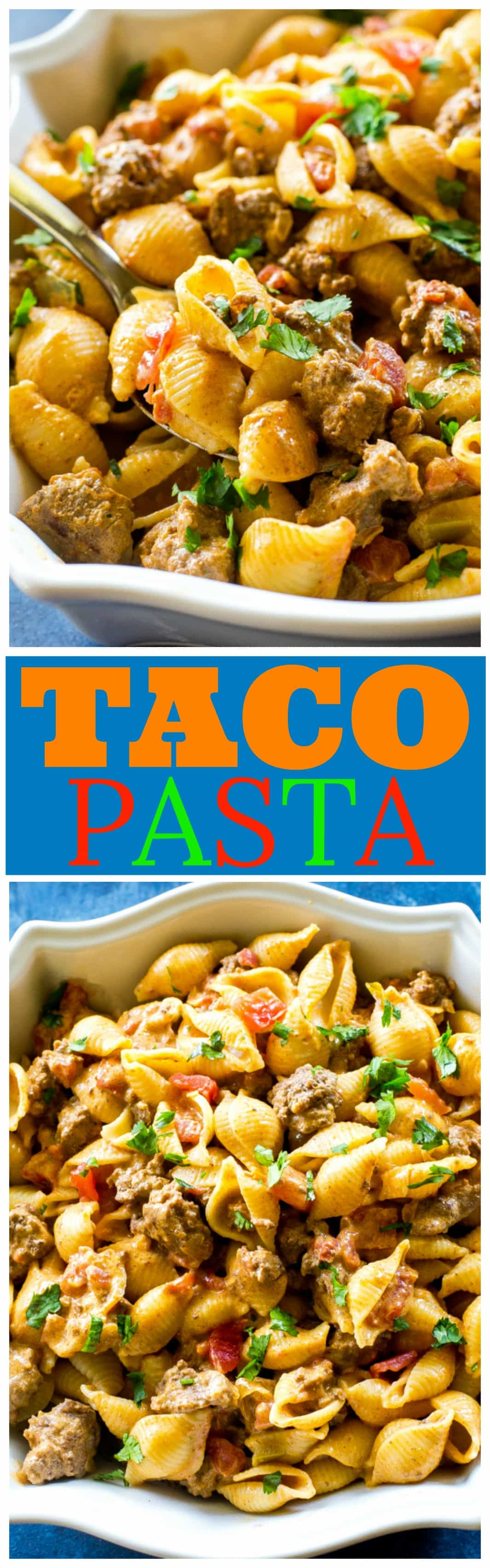 Taco Pasta - creamy, spicy pasta for an easy Italian meets Mexican dinner. #mexican #pasta #taco #beef #dinner #easy #recipe