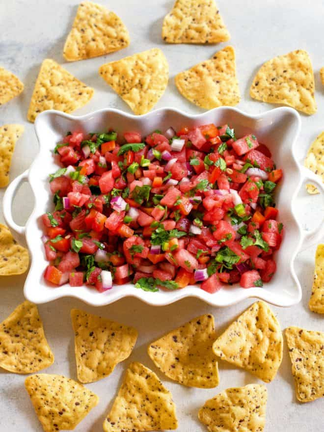watermelon salsa in a bowl with tortilla chips