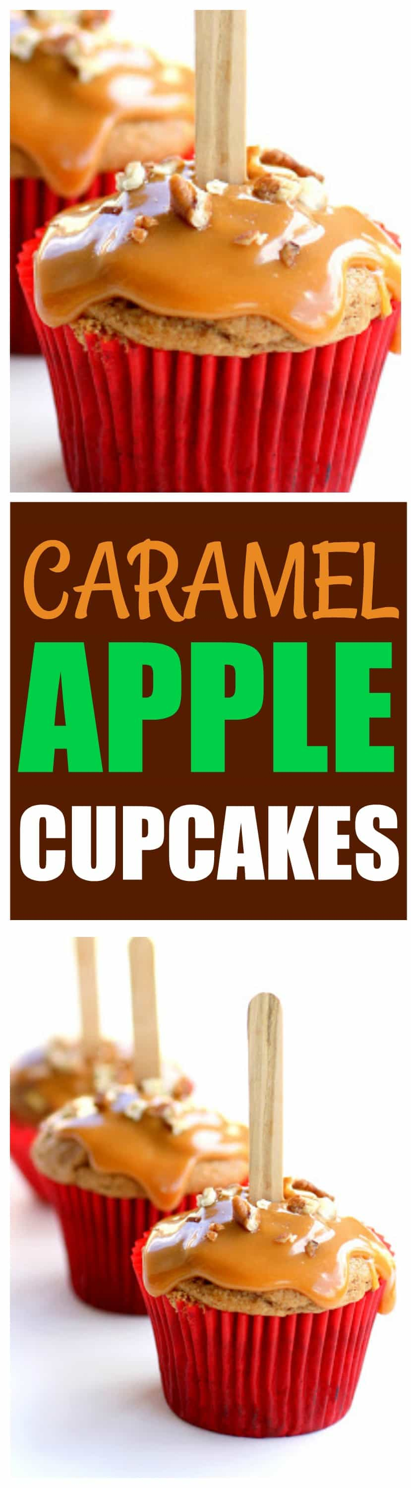 These Caramel Apple Cupcakes are simple and easy. This recipe has all of the fall flavors you love and the cupcakes are drizzled with caramel and nuts. They look like a caramel apple in cupcake form. #caramel #apple #cupcakes #dessert #recipe