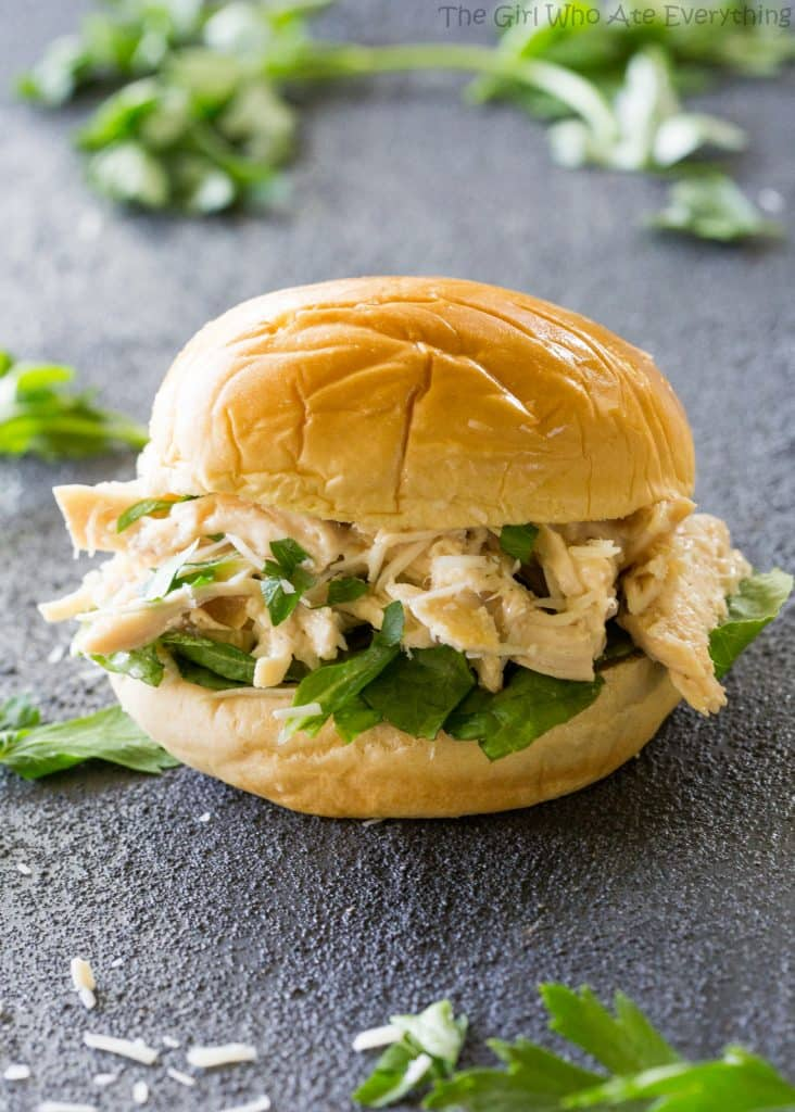 Slow Cooker Chicken Caesar Sandwiches - a tried and true favorite! the-girl-who-ate-everything.com