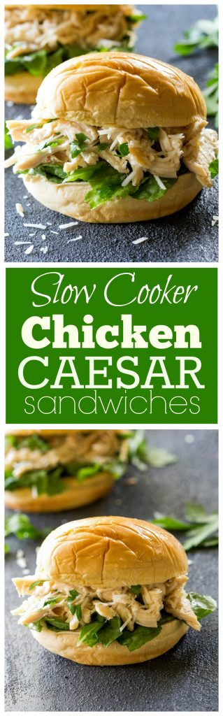 Slow Cooker Chicken Caesar Sandwiches - a tried and true favorite! #chicken #crockpot #dinner #caesar #slowcooker