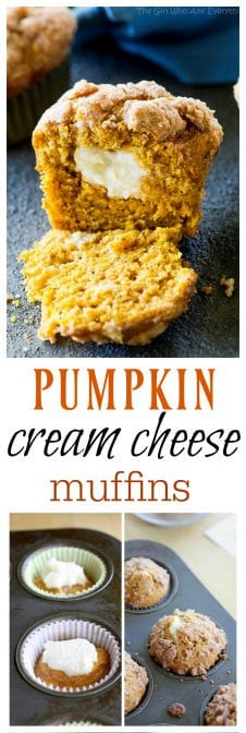 Pumpkin Cream Cheese Muffins - hands down one of my favorite fall muffins ever! #muffins #pumpkin #creamcheese #fall #breakdast