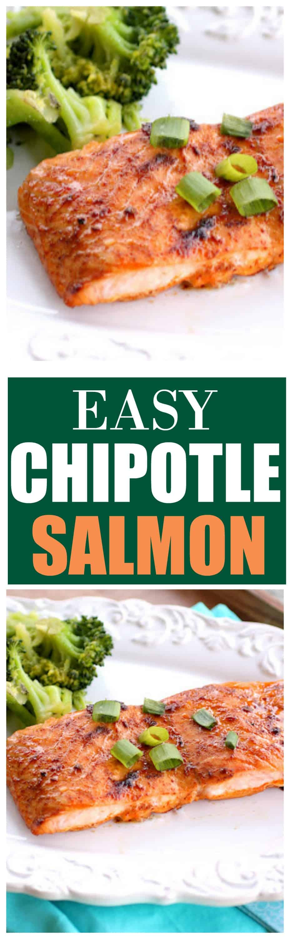 This Chipotle Salmon is spicy and sweet and only has a few ingredients in this healthy dinner recipe! #sweet #spicy #chipotle #salmon #seafood #dinner #recipe