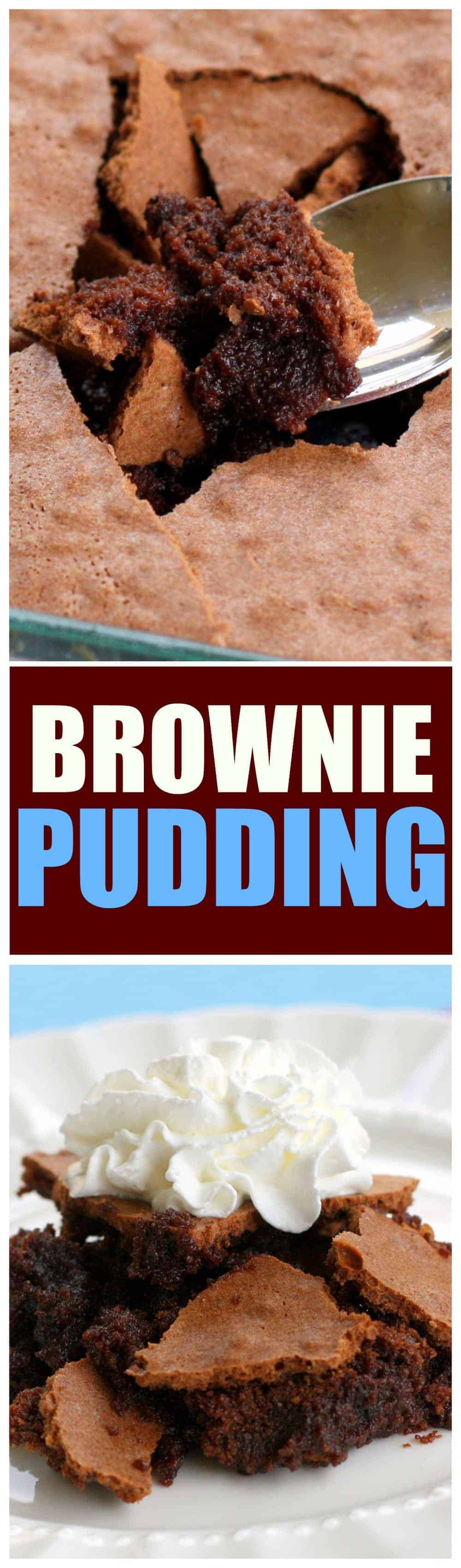 Brownie Pudding - crack the top with your spoon to get to the fudgy center! #brownie #pudding #dessert #recipe #chocolate