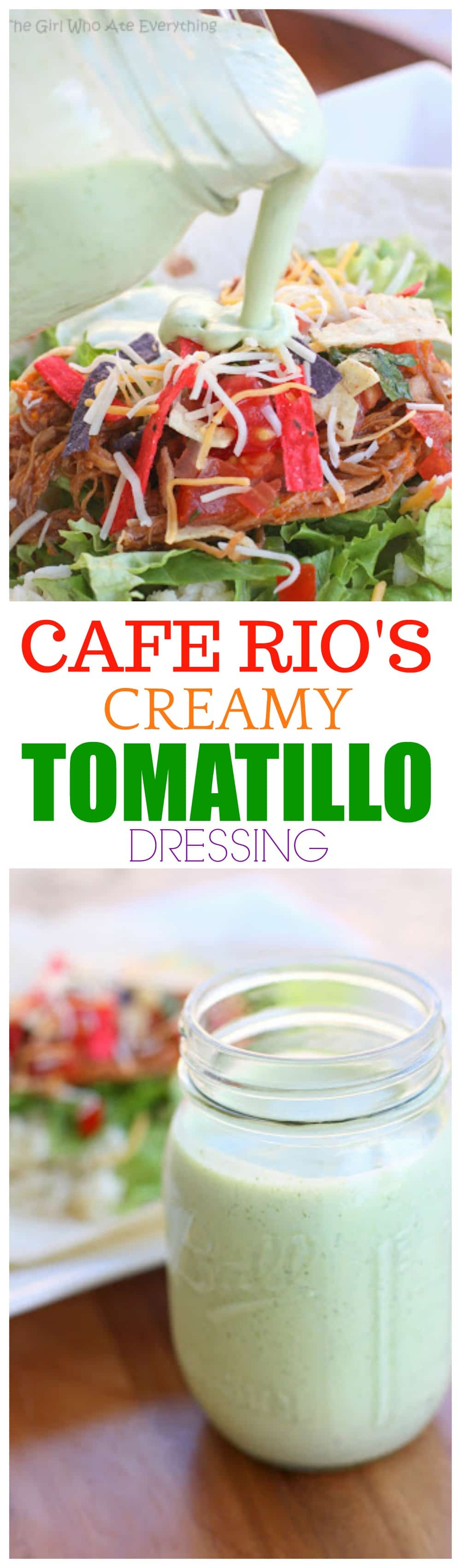 This version of Cafe Rio's Creamy Tomatillo Dressing is as close as it gets. I've made this 100 times and would drink it if I could but I usually pour it over salad, tacos, and burritos. #mexican #cafe #rio #creamy #tomatillo #dressing #recipe #salad