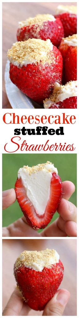 Cheesecake Stuffed Strawberries - so easy to make and a crowd pleaser! the-girl-who-ate-everything.com