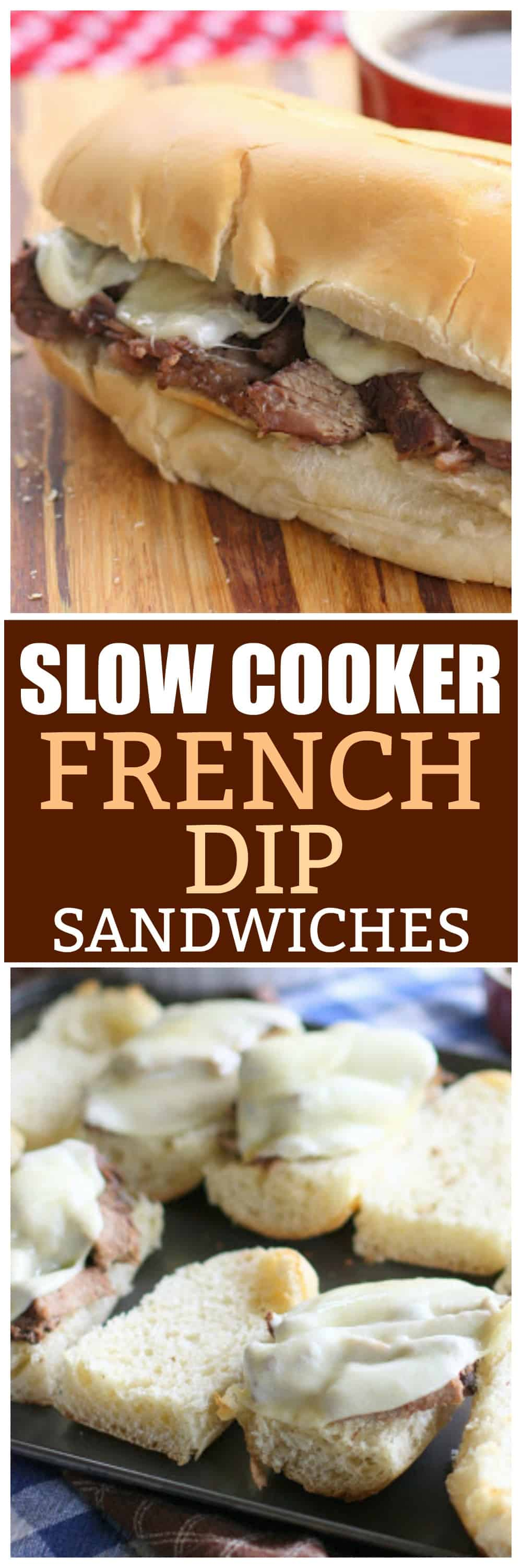 Slow Cooker French Dip Sandwiches with a seasoned au jus sauce. An easy crockpot recipe! the-girl-who-ate-everything.com