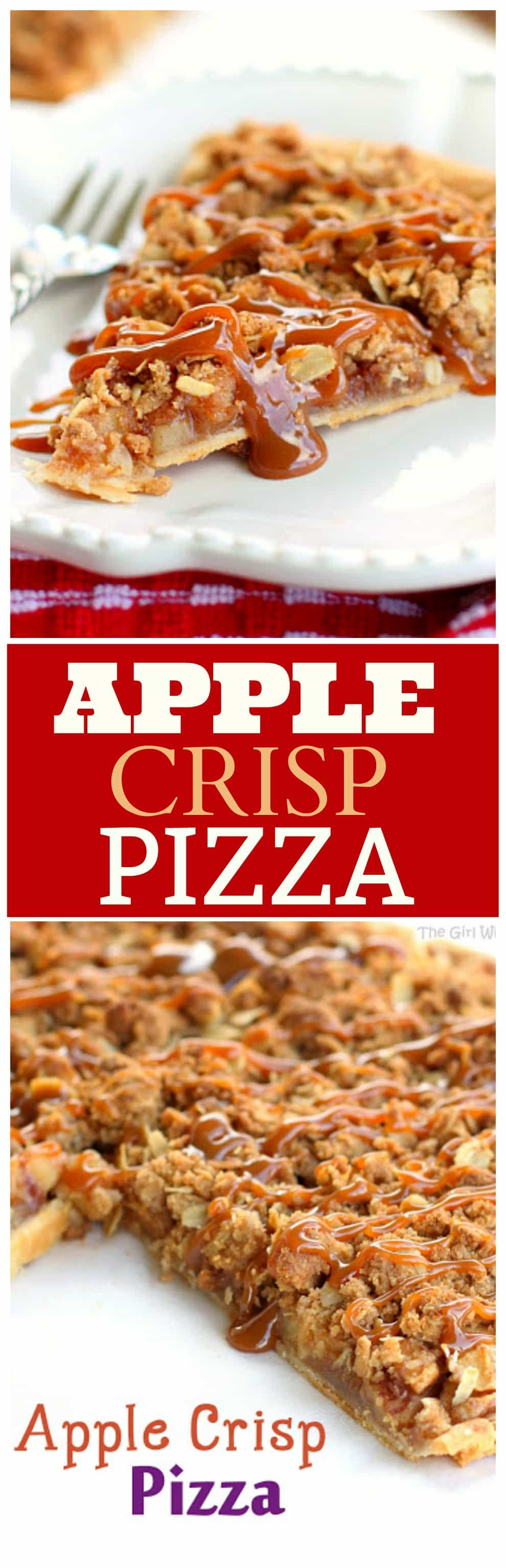 Apple Crisp Pizza - so easy! Apple Crisp toppings piled on a pie crust and baked! #apple #crisp #pizza #recipe #dessert