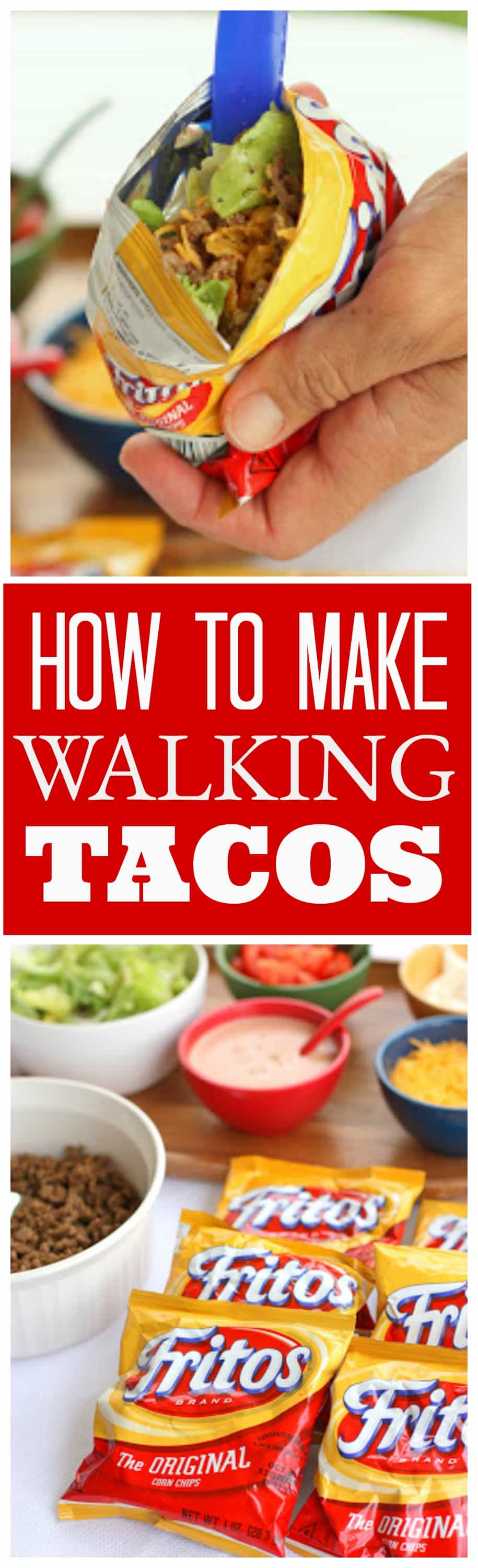 These Walking Tacos are tacos made right in the bag. Great for parties and potlucks!