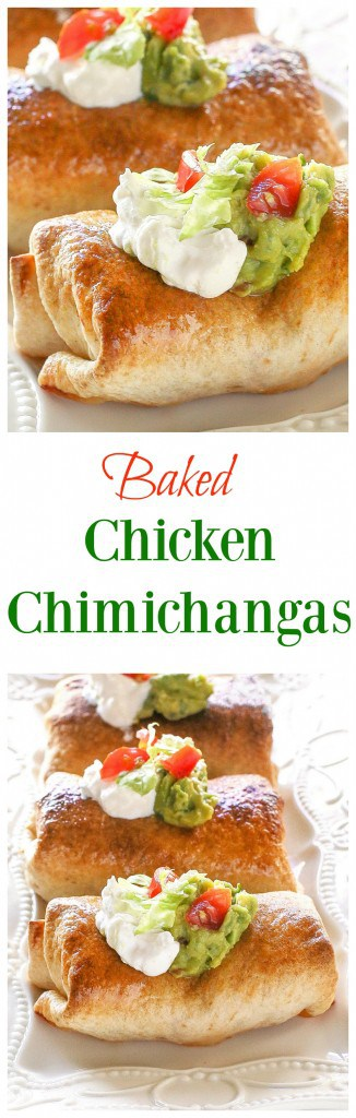 Baked Chicken Chimichangas - one of our favorite healthy Mexican meals. the-girl-who-ate-everything.com