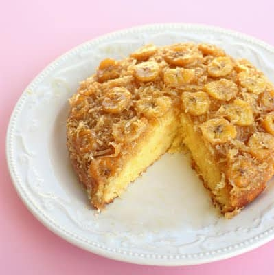 Banana Coconut Upside Down Cake - The Girl Who Ate Everything