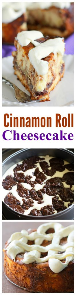 Cinnamon Roll Cheesecake - cinnamon roll batter swirled throughout cheesecake. One of my favorite recipes ever. #cinnamon #roll #cheesecake #recipe #dessert