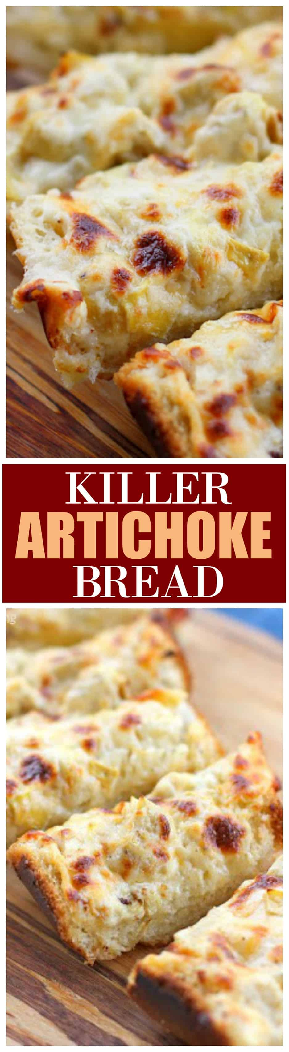 This Killer Artichoke Bread is artichoke dip in bread form. #killer #artichoke #bread #appetizer #recipe