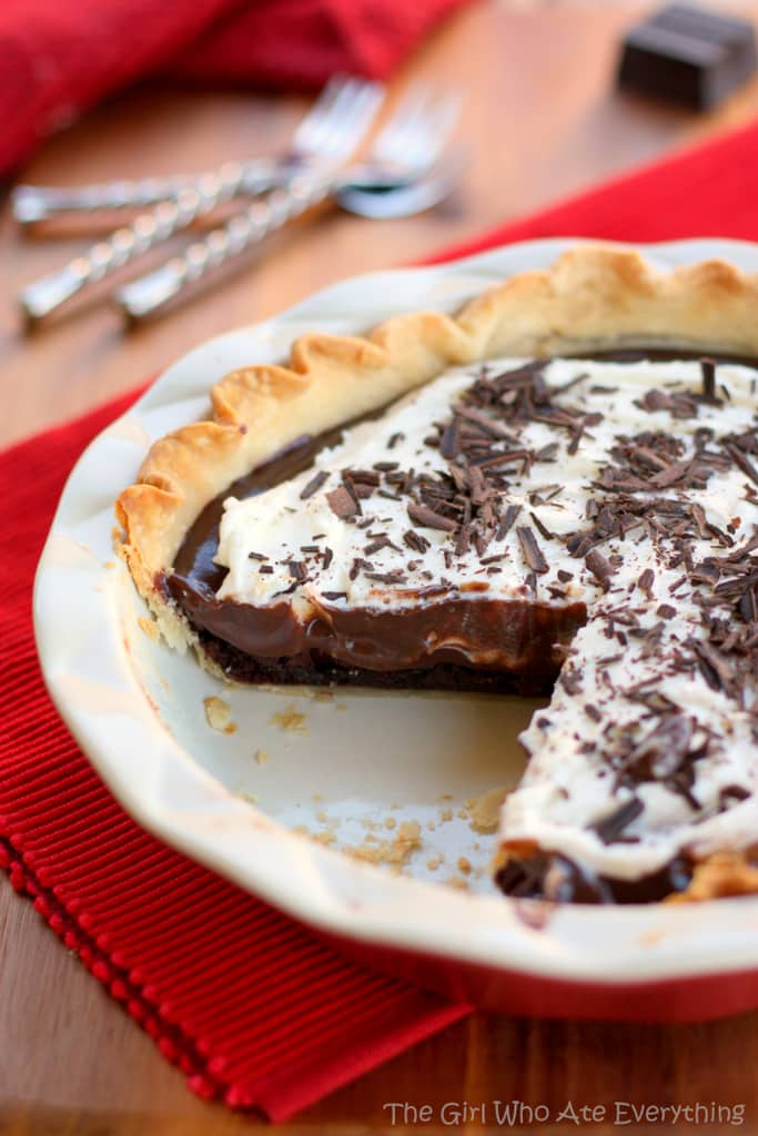 This Chocolate Cream Brownie Pie has a fudgy brownie base topped with a chocolate cream filling and fresh whipped cream.