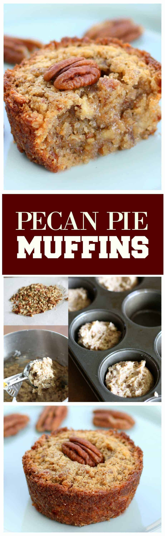 Pecan Pie Muffins - Muffin meets pecan pie. Mini versions that everyone loves. #pecan #pie #muffins #breakfast #dessert #thanksgiving