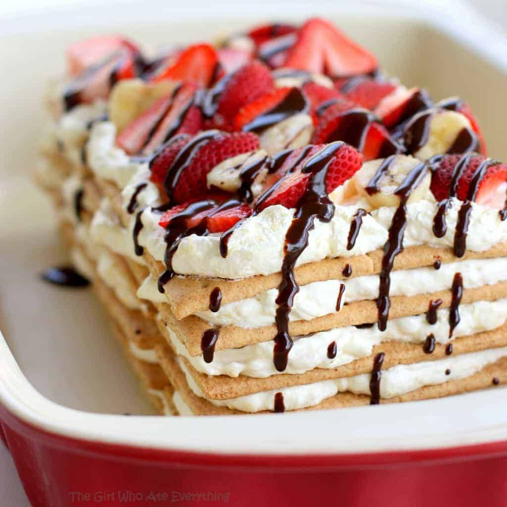 Banana Split Icebox Cake - no-bake and so easy! www.the-girl-who-ate-everything.com