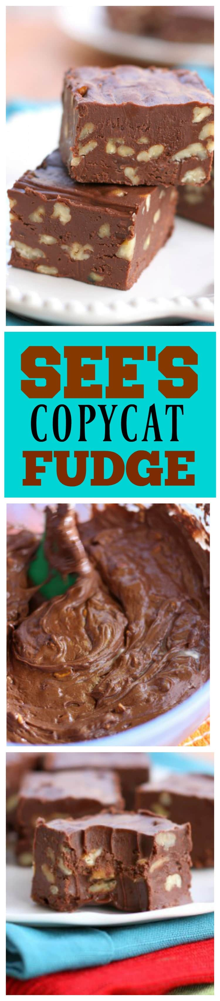 See's Copycat Fudge is perfect and creamy. No candy thermometer required! #sees #copycat #fudge #dessert #chocolate