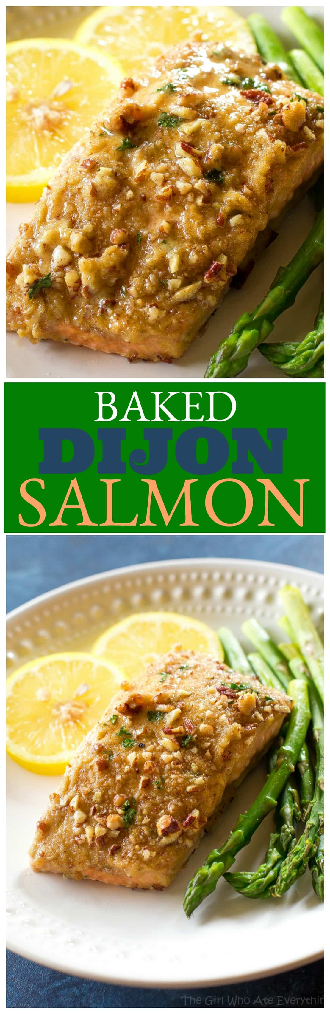 Baked Dijon Salmon - salmon topped with honey, dijon mustard, pecans, and breadcrumbs. An easy weeknight dinner. #baked #dijon #salmon #recipe