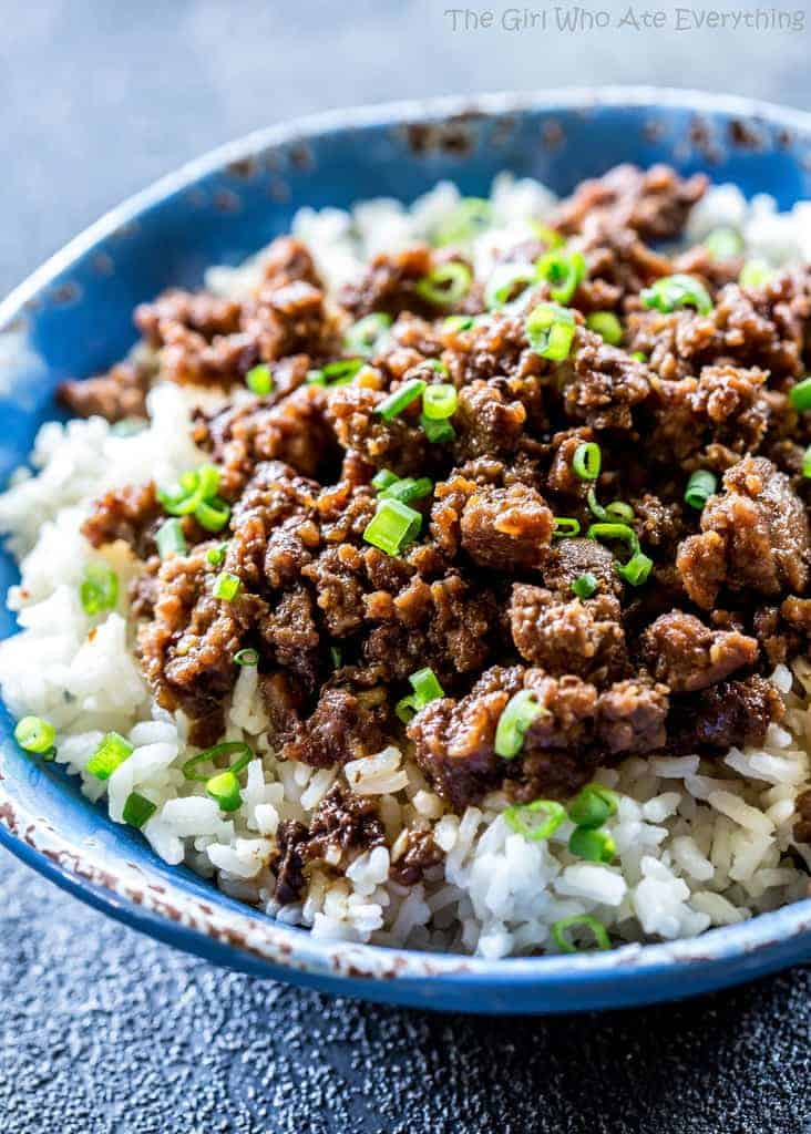Cheater korean beef recipe rice the girl who ate everything cheater korean beef a quick version of the classic served over rice or in lettuce forumfinder Image collections