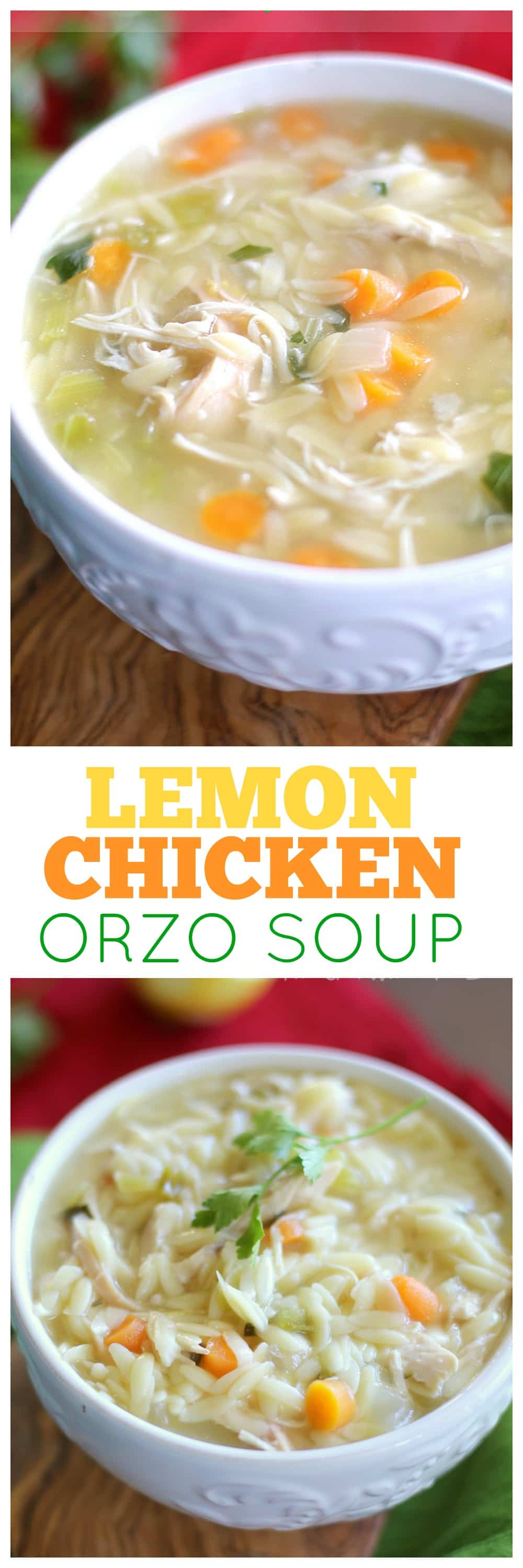 This Lemon Chicken Orzo Soup is a comforting and easy meal for any night of the week. #healthy #lemon #chicken #orzo #soup #recipe