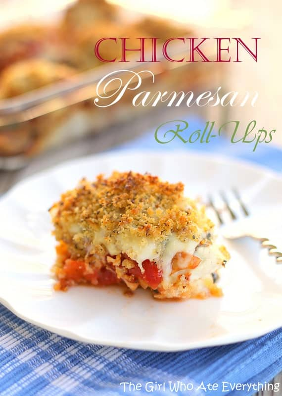 These Chicken Parmesan Roll-Ups are an easy dinner recipe that your whole family will love. the-girl-who-ate-everything.com