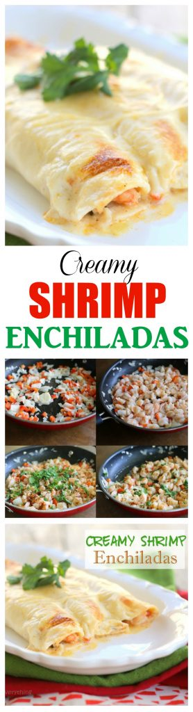 Creamy Shrimp Enchiladas - filled with veggies and shrimp and covered with a rich, creamy sauce. #shrimp #enchiladas #mexican #dinner #recipe