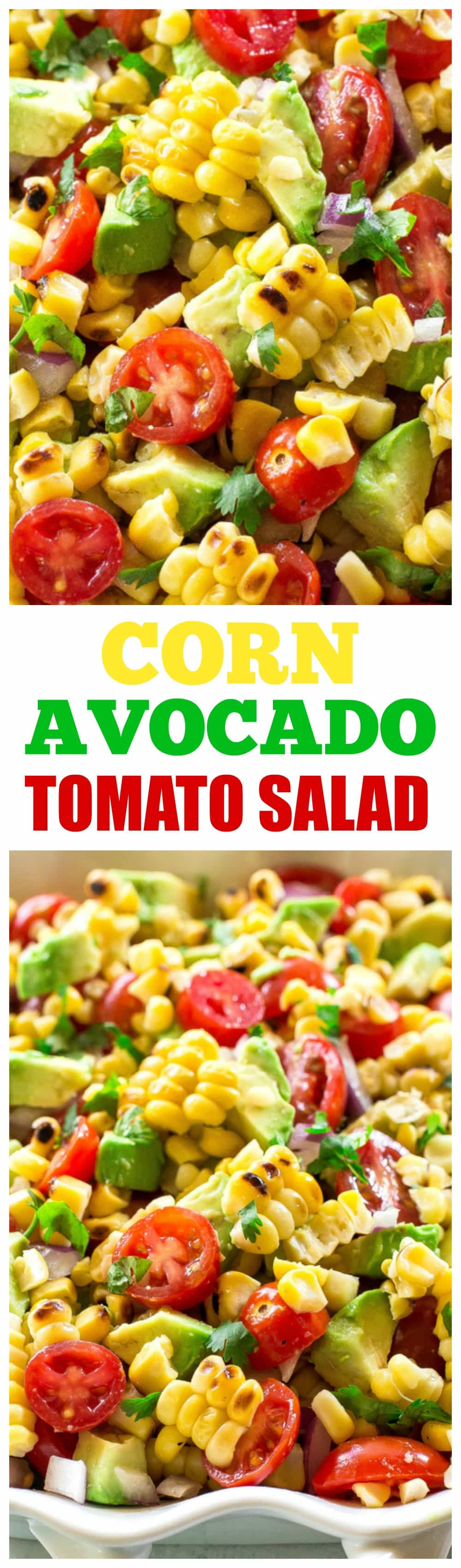 This Corn, Avocado, and Tomato Salad is a fresh and light side dish perfect for summer BBQs and potlucks. It's a fresh and light side dish that screams summer! #summer #potluck #sidedish #salad #corn #BBQ