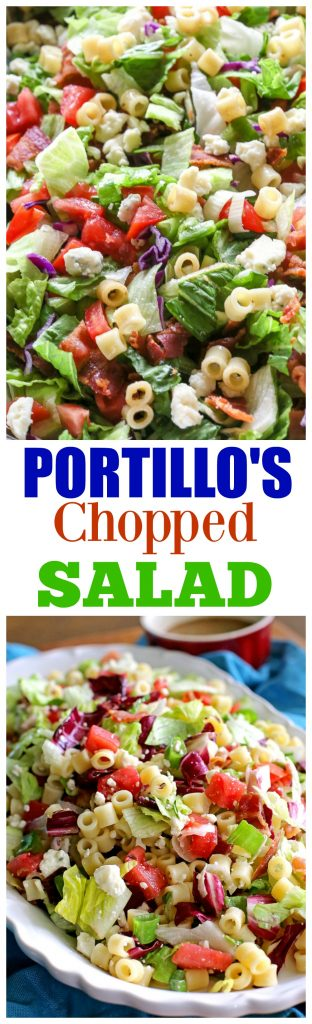 This Portillo's Chopped Salad is a knock off from the famous salad recipe at Portillo's in Chicago. It's hearty and topped with the tastiest dressing. This Portillo's Chopped Salad has bacon, tomato, Gorgonzola cheese and even little bits of pasta throughout! #portillos #chopped #salad #recipe