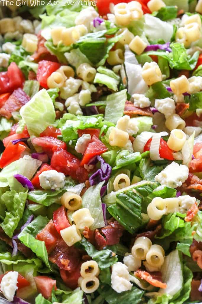 Portillo's Chopped Salad with tomatoes, bacon, and pasta