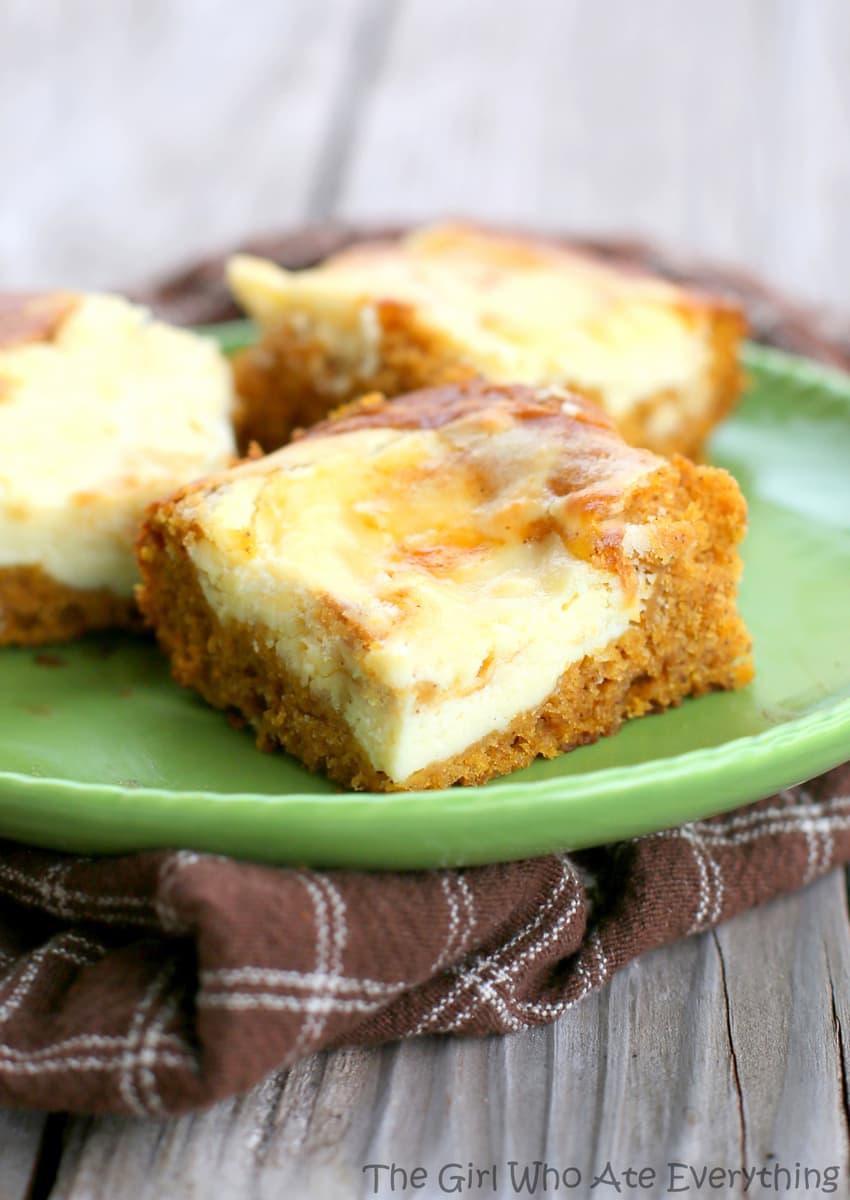 Cream Cheese Bars are moist pumpkin bars with swirls of cream cheese ...