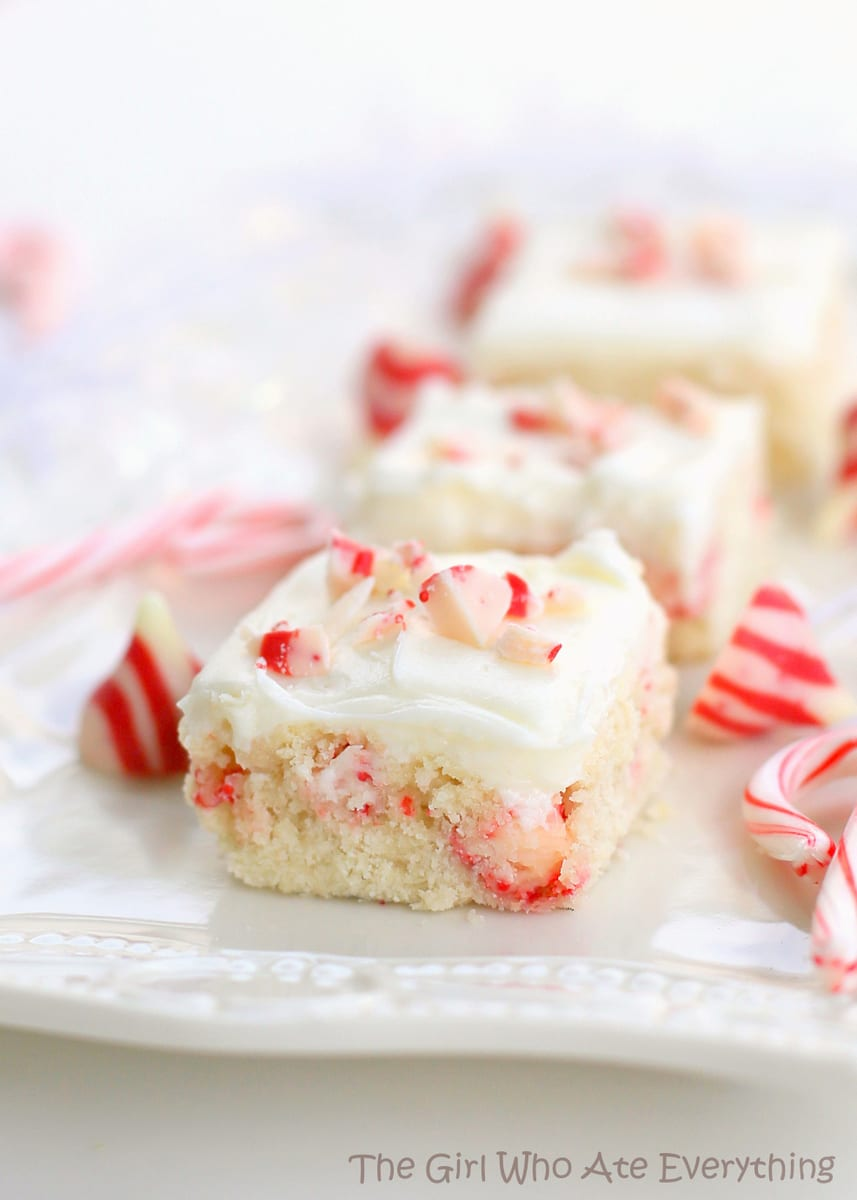 Candy Cane Kiss Sugar Cookie Bars