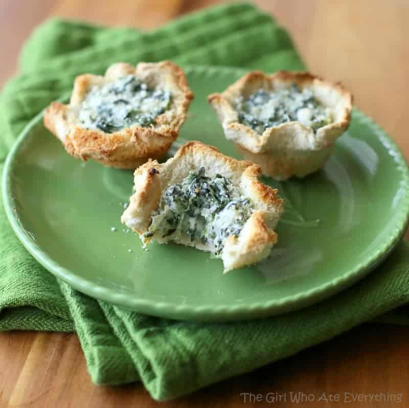Spinach Artichoke Dip Cups on a green plate