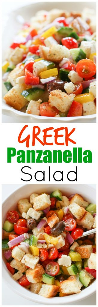 This Greek Panzanella Salad is one of my favorite Italian salads. Tomatoes, cucumber, feta, onion, and olives tossed with bread cubes and a delicious dressing. It's like eating the bottom of the bowl of your favorite salad with bread. #greek #panzanella #salad #healthy #recipe