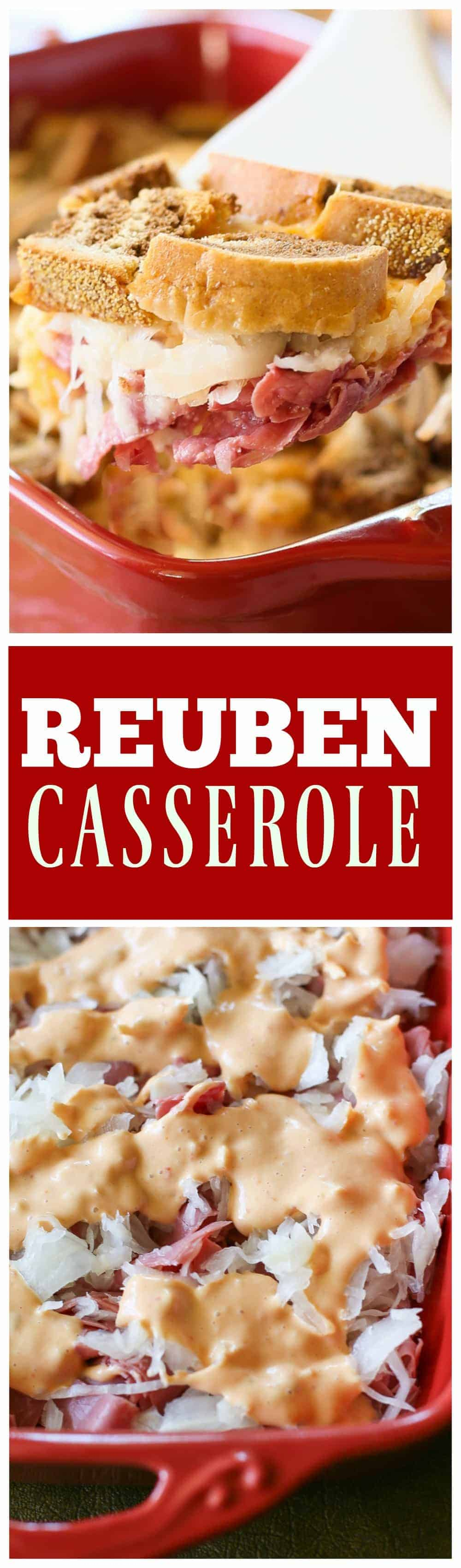 Corned beef, sauerkraut, Swiss cheese, Thousand Island dressing and Rye bread all make this Reuben Casserole taste just like the sandwich. #reuben #casserole #stpatricksday the-girl-who-ate-everything.com