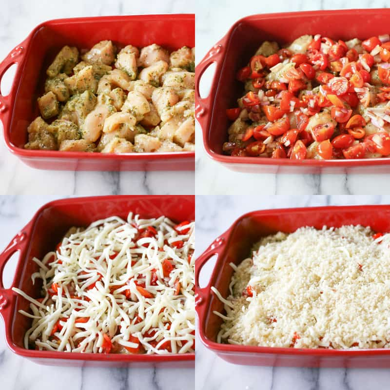 Bruschetta Pesto Chicken Casserole | The Girl Who Ate Everything