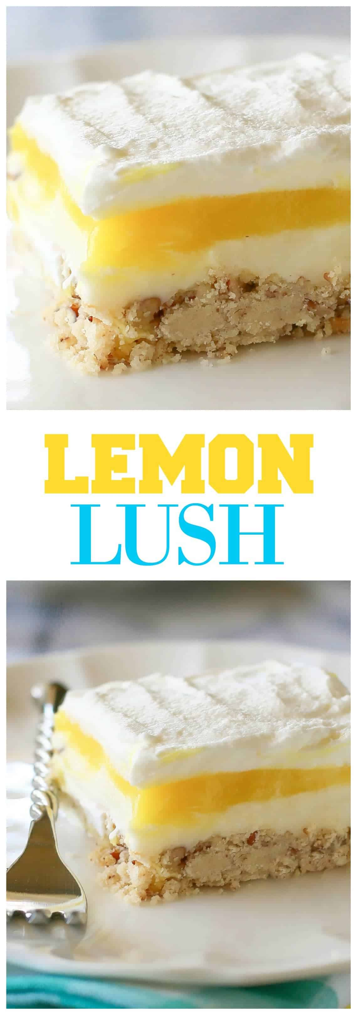 Lemon Lush - a light and refreshing lemon dessert with a shortbread crust. #lemon #bars #dessert #summerdessert