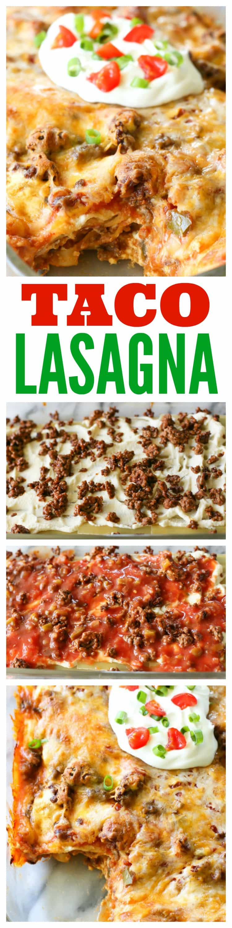 Taco Lasagna - Layers of lasagna noodles, salsa, taco meat, and cheese. Comfort food at its best! #taco #lasagna #mexican #italian #dinner #recipe
