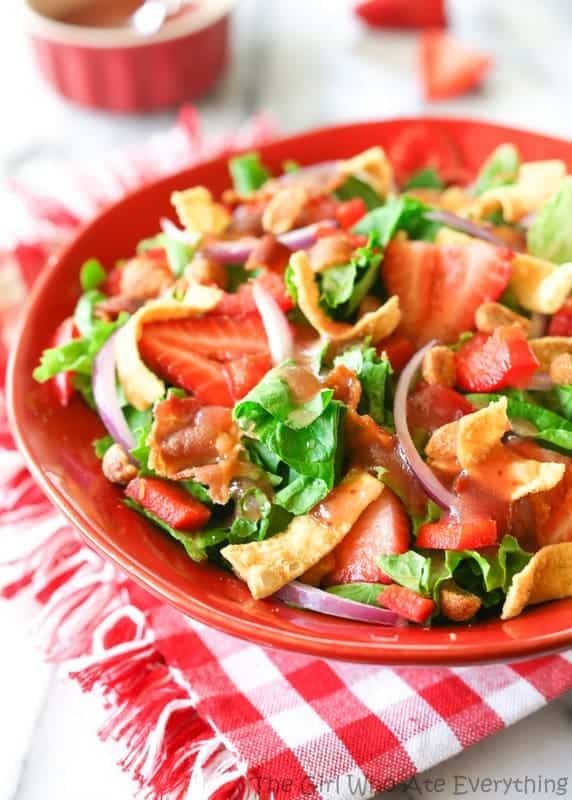 Strawberry Wonton Spinach Salad | The Girl Who Ate Everything
