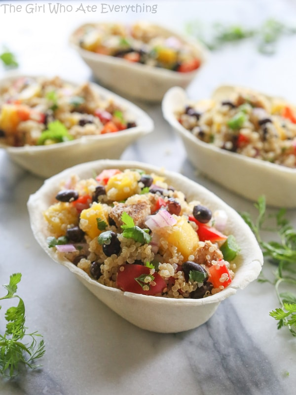 Mango Black Bean Chicken Quinoa Bowls | The Girl Who Ate Everything