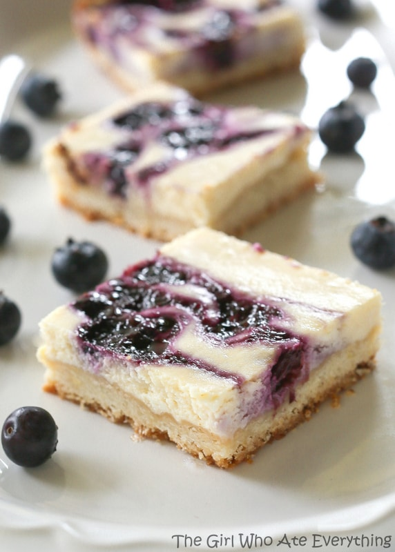 Blueberry Cheesecake Bars | The Girl Who Ate Everything