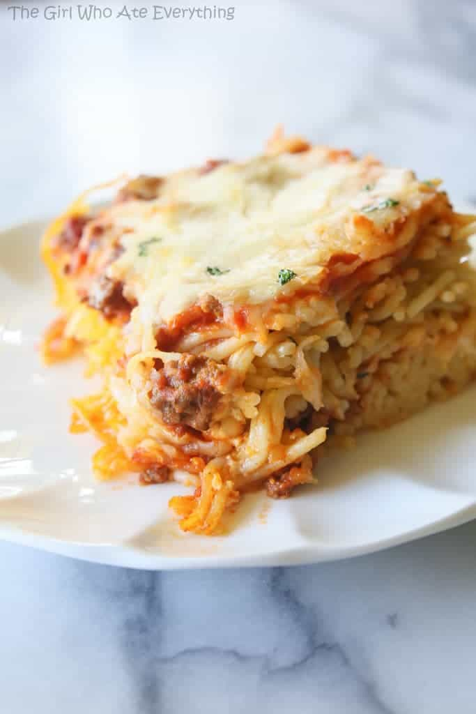 Baked Spaghetti with Meat Sauce in a casserole