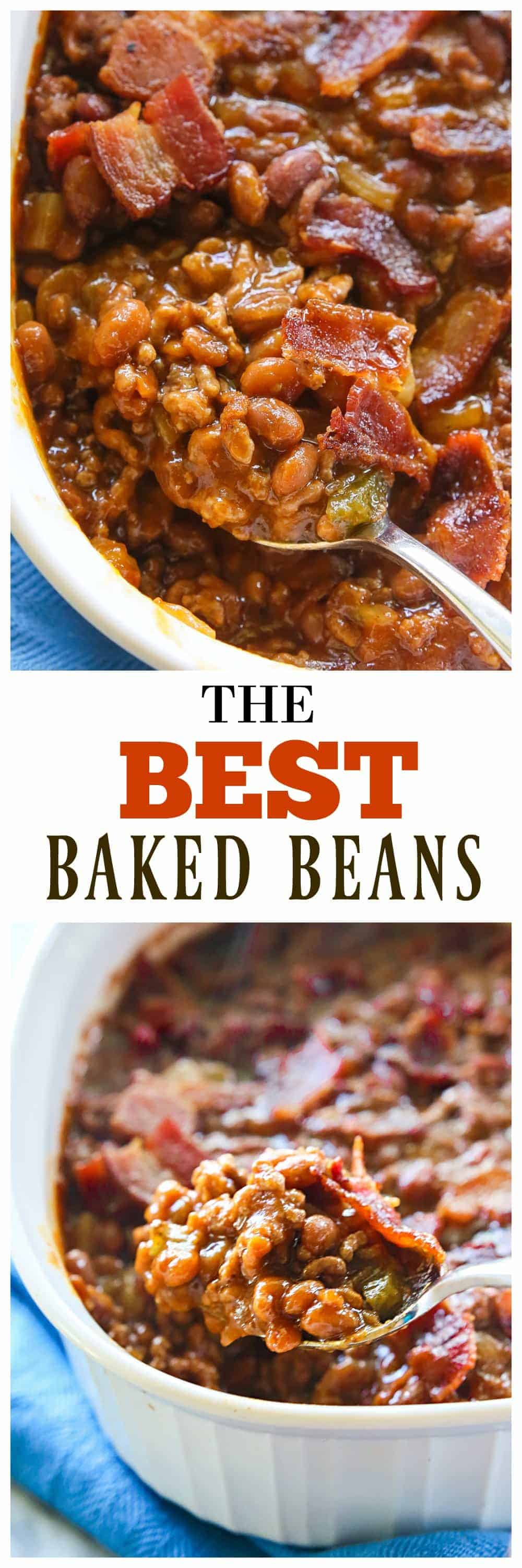 The Best Baked Beans - hearty and thick and always a winner at BBQs, potlucks, and parties. The perfect side dish. #baked #beans #recipe #homemade #BBQ #sidedish