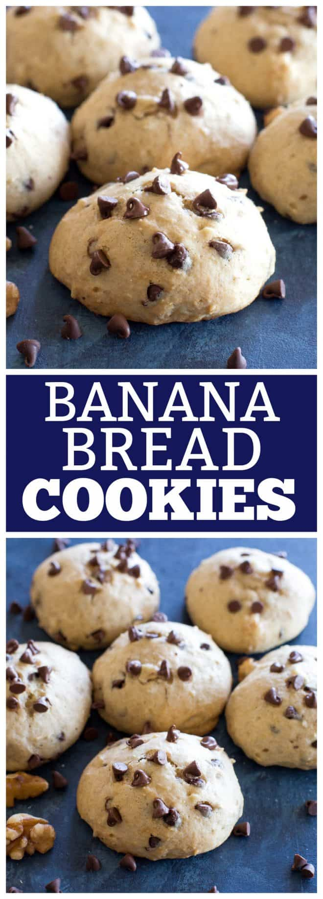 These Banana Bread Cookies are moist cake-like browned butter banana cookies with mini chocolate chips and nuts that taste just like banana bread. #banana #bread #cookies #dessert