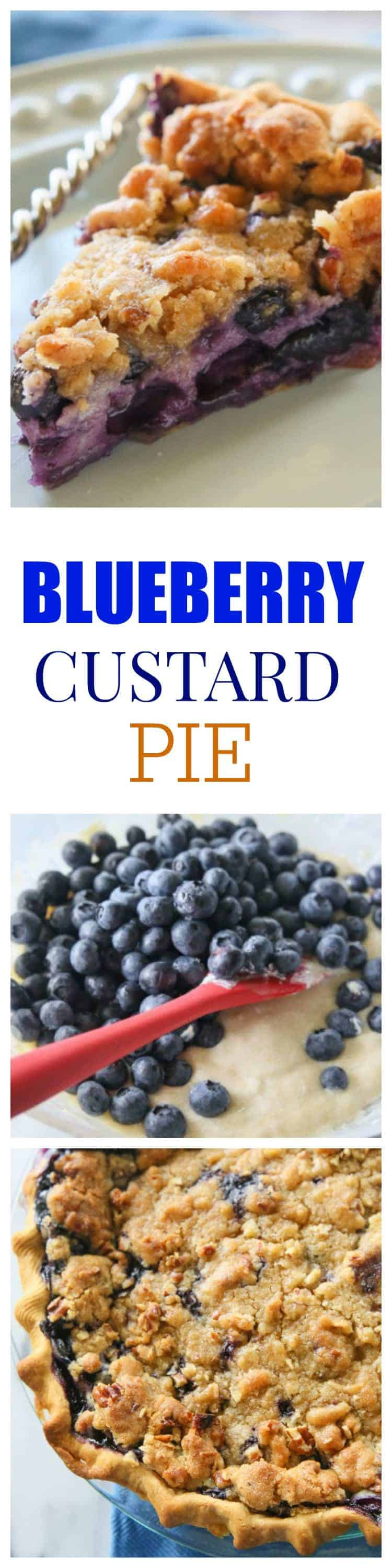 Blueberry Custard Pie is a twist on the classic blueberry pie with a creamy custard filling and topped with a crunchy streusel. #blueberry #custard #pie #summer #dessert