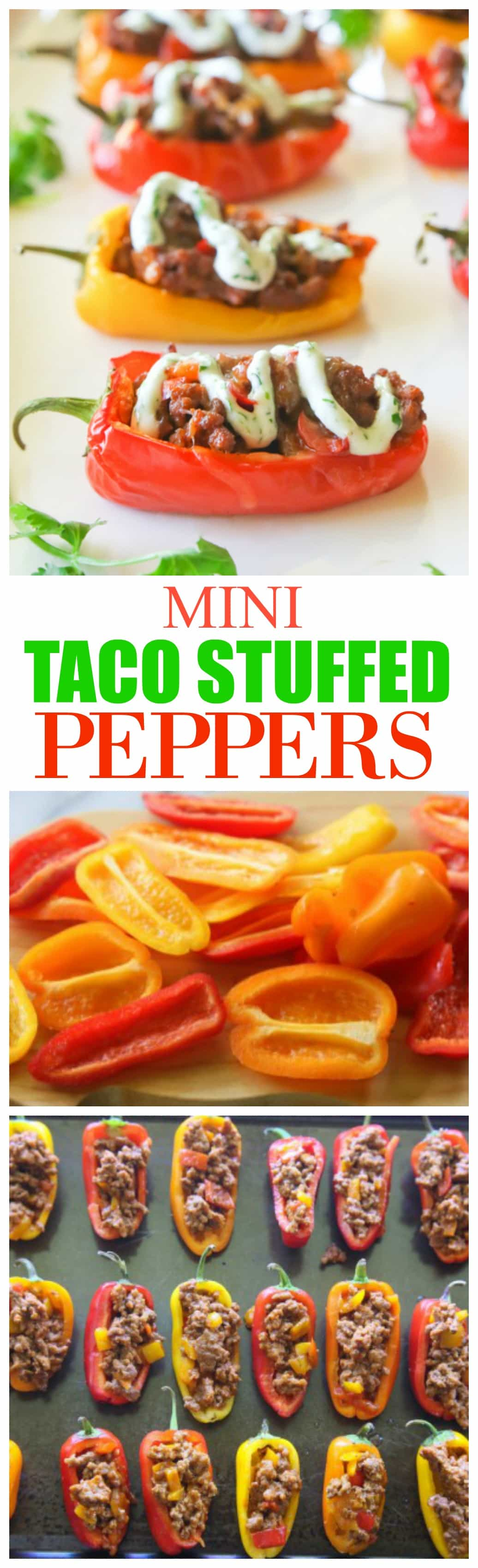 Mini Taco Stuffed Peppers - mini bell peppers stuffed with taco meat and drizzled with a cilantro cream sauce. #healthy #mexican #appetizer #taco #stuffed #peppers