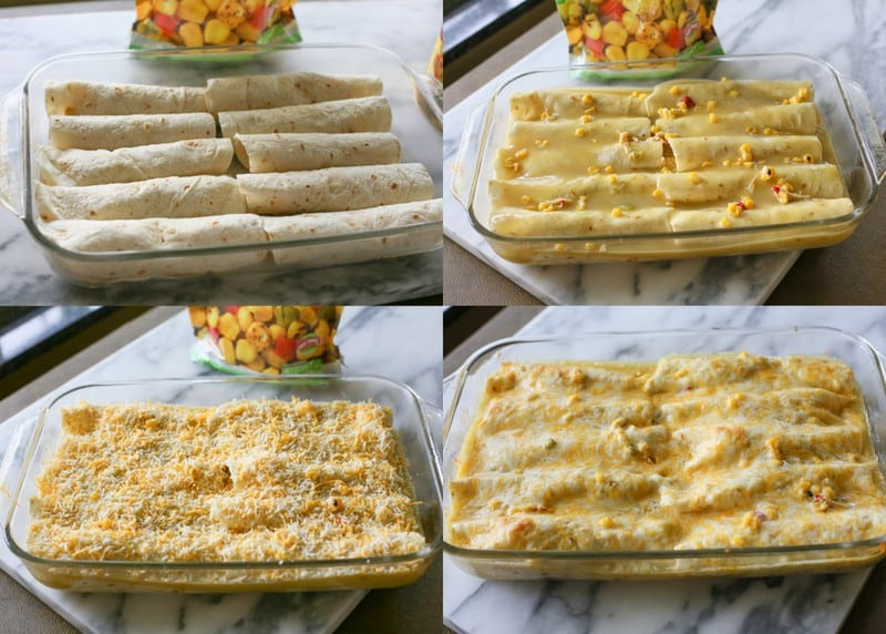 Sweet Corn and Chicken Enchiladas - only 5 ingredients for this easy family dinner.