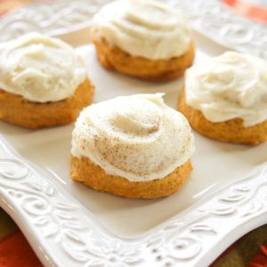 Melt In Your Mouth Pumpkin Cookies - super soft pumpkin cookies with cream cheese frosting {The Girl Who Ate Everything}