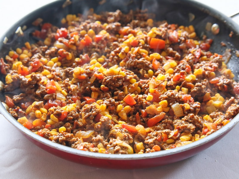 meat, tomatoes, corn, taco seasoning