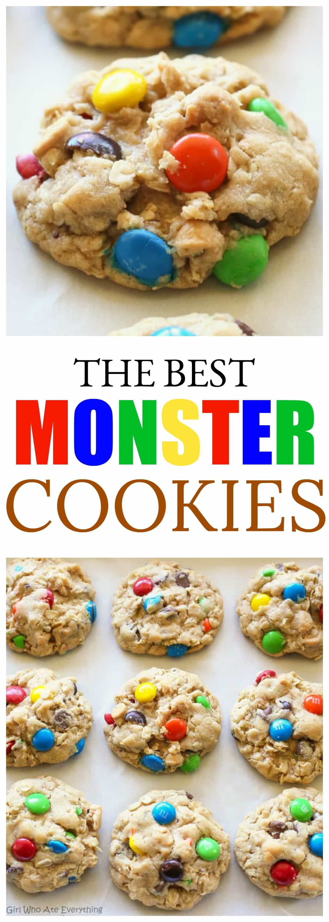 Monster Cookies - these thick, soft cookies are filled with peanut butter, oats, chocolate chips, and M&Ms. #monster #cookies #peanutbutter #recipe #oats #chewy